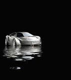 Sport car in rendered water Stock Image