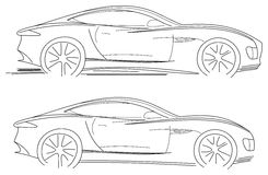 Sport Car Sketch Royalty Free Stock Photo