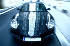 Sport car with special zoom blur effect Royalty Free Stock Images