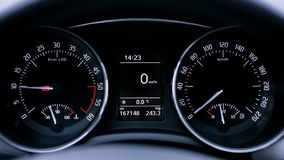 Sport car speedometer close up. Interior of luxurious sport car. modern car interior. air condition in auto. car multimedia and navigation. Interior of a modern Royalty Free Stock Images