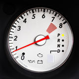 Sport Car Tachometer. Tachometer of sport car with redline on 7000 rpm Stock Photo