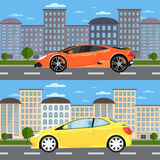 Sport car and universal car in urban landscape Stock Photos