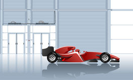 Sport car. Vector illustration of the racing car in garage. Simple gradients only, no gradient mesh Stock Images