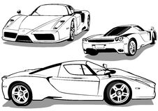 Sport Car from 3 Views Royalty Free Stock Image