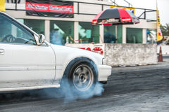 Sport car wheel drifting and smoking on track Stock Images
