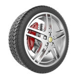 Sport car wheel isolated on a white background Royalty Free Stock Photo