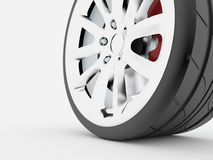 Sport car wheel rendered Royalty Free Stock Image