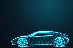 Sport car wire model with blue neon on dark background, with crumbled edge on blue night sky with dots, stars and looks like stock illustration