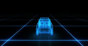 Sport car wire model with blue neon ob black background Royalty Free Stock Photo