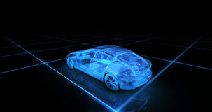 Sport car wire model with blue neon ob black background Stock Photo