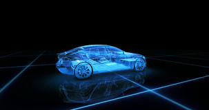 Sport car wire model with blue neon ob black background royalty free stock images