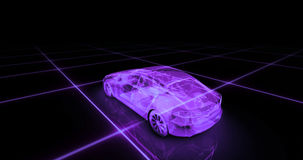 Sport car wire model with purple neon ob black background. 3d render Stock Photography