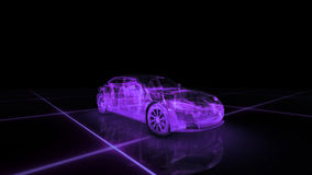Sport car wire model with purple neon ob black background stock photo