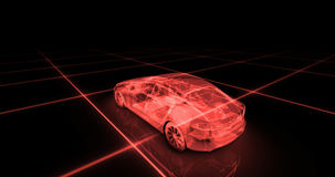 Sport car wire model with red neon ob black background Royalty Free Stock Photo