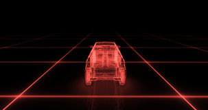 Sport car wire model with red neon ob black background Royalty Free Stock Image