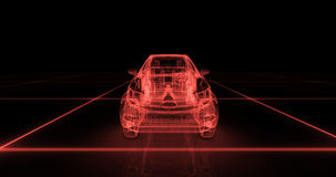 Sport car wire model with red neon ob black background Stock Images