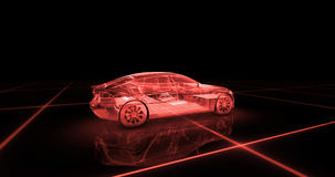 Sport car wire model with red neon ob black background Stock Photos