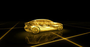 Sport car wire model with yellow neon ob black background. 3d render Stock Photos