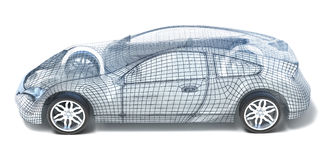Sport Car Wireframe. Left view royalty free illustration