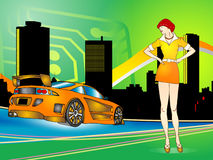 Sport car and woman on a city  background Stock Image