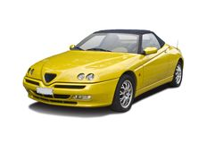 Sport car. Yellow Alfa Romeo cabrio isolated on white Royalty Free Stock Photo