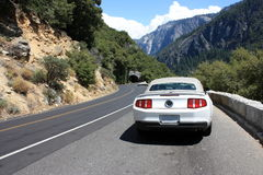 Sport car in Yosemite park Royalty Free Stock Photo