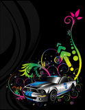 Sport cars. Composition over a black background Royalty Free Stock Photography