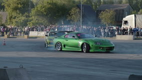 Sport cars on drift show stock video