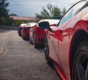 Sport cars. Red sport car modern luxury close up detail Stock Photo