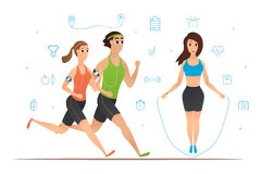 Sport cartoon characters collection Stock Photography