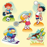 Sport characters with background. Royalty Free Stock Photography