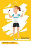 Sport characters badminton player vector Royalty Free Stock Photography