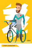 Sport characters bicycle rider player vector Stock Photography