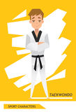 Sport characters taekwondo player vector Royalty Free Stock Photo