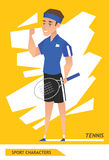 Sport characters tennis player vector Royalty Free Stock Image