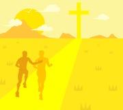 Sport che eseguono l'illustrazione di Christian Runner Guidance Support Jesus royalty illustrazione gratis