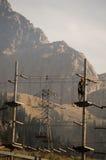 Sport che si preparano nelle montagne Fotografia Stock