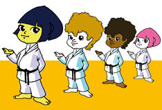 Sport, Diversity Children and Martial Art Cartoon Royalty Free Stock Photography