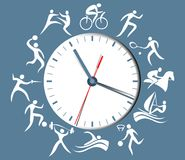 Sport clock with abstract silhouettes of active people. Abstract port clock with abstract silhouettes of active people Royalty Free Stock Photos