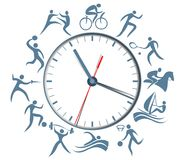 Sport clock with abstract silhouettes of active people. Abstract port clock with abstract silhouettes of active people Stock Image