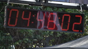 Sport clock in sport event. Sport clock or chronometer running in sport event stock footage