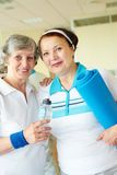 In sport club. Portrait of aged women looking at camera in sport club Stock Images