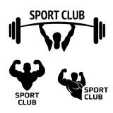 Sport. Club. Bodybuilding logos emblems design element. s icons and elements. Bodybuilder, athlete icon Stock Image