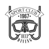 Sport club deep diving 1967 vintage logo. Black and white vector Illustration. For diver school or club emblem, elements for badge, print, tattoo, label Royalty Free Stock Photography