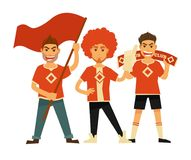Sport club fans soccer or football team flags banners vector flat icons. Sport fans boys holding flag, banner or thumb up glove sign and cheerleading support Royalty Free Stock Photos