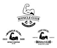 Sport Club and Fitness Gym Labels and Emblems Stock Image