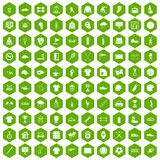 100 sport club icons hexagon green. 100 sport club icons set in green hexagon isolated vector illustration stock illustration