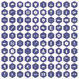 100 sport club icons hexagon purple Royalty Free Stock Photo