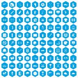 100 sport club icons set blue. 100 sport club icons set in blue hexagon isolated vector illustration Royalty Free Stock Photos
