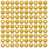 100 sport club icons set gold. 100 sport club icons set in gold circle isolated on white vector illustration Royalty Free Stock Photo